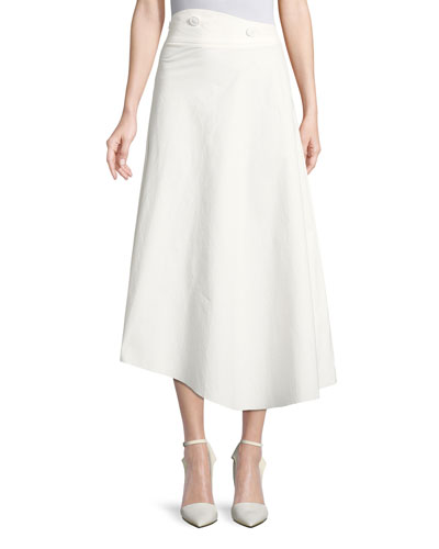 High-Waist Cotton Poplin A-Line Skirt