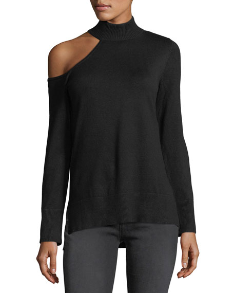 Mock-Neck One-Shoulder Sweater
