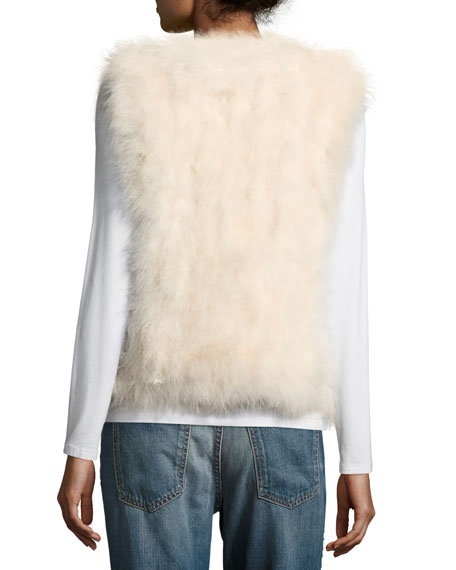 Violet Marabou Feather Vest, Pink