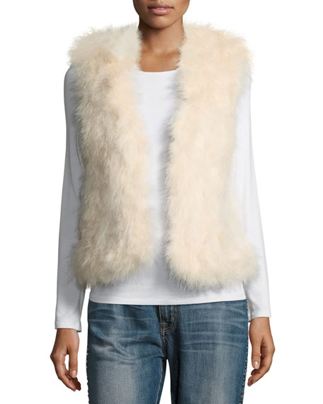 Club Monaco Violet Marabou Feather Vest, Pink