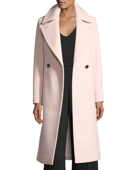 Daylina Double-Button Long Wool Coat