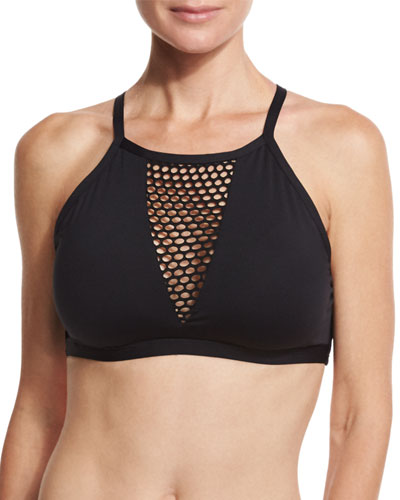 All Meshed-Up High-Neck Swim Top, Black (Available in D-E Cup Sizes)