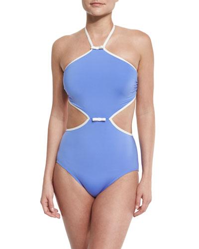 plage du midi cutout one-piece swimsuit, adventure blue