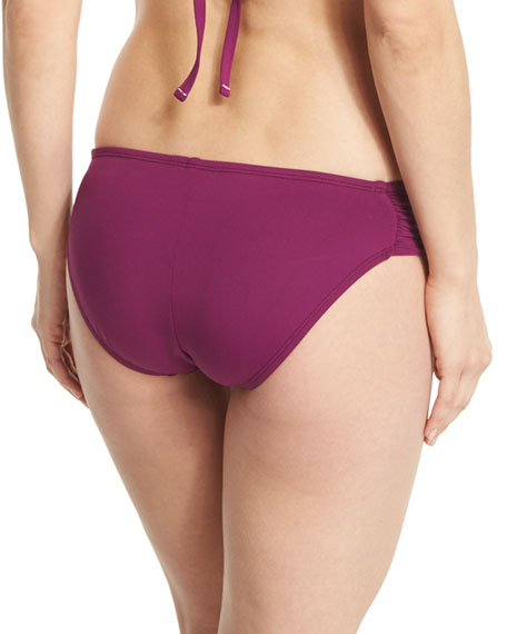 Island Goddess Shirred-Side Hipster Swim Bottom