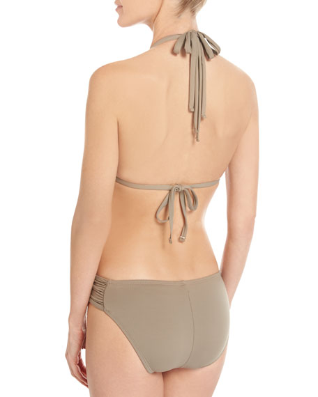 Island Goddess Shirred-Side Hipster Swim Bikini Bottom