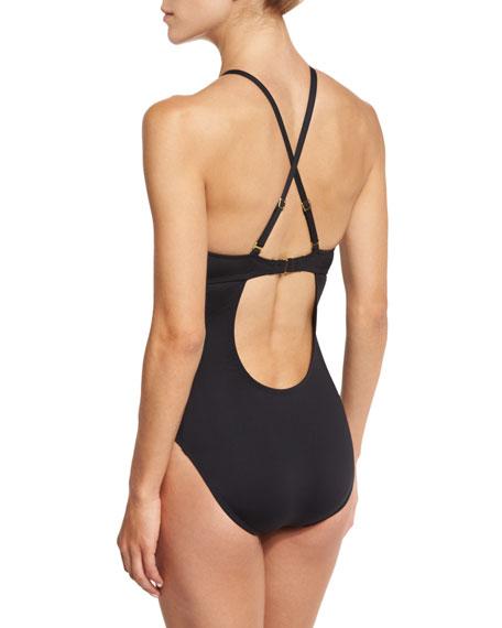 Island Goddess High-Neck Cutout One-Piece Swimsuit