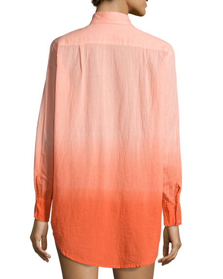 Midnight Waves Ombre Button-Down Coverup
