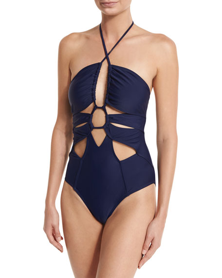 Cutout Halter One-Piece Swimsuit
