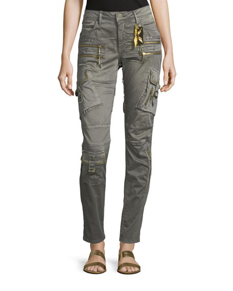 Robin's Jeans Raptor Mid-Rise Skinny-Leg Cargo Pants