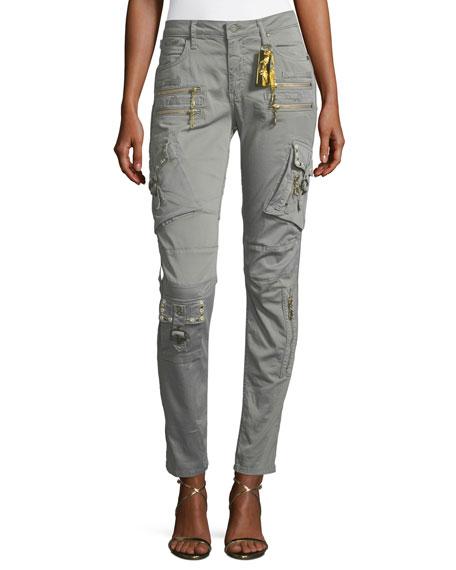 Robin's Jeans Raptor Mid-Rise Skinny-Leg Cargo Pants w/