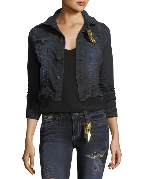 Button-Front Cropped Washed Denim Jacket