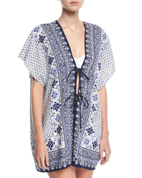 Tommy Bahama Tika Tie-Front Engineered Tunic, One Size