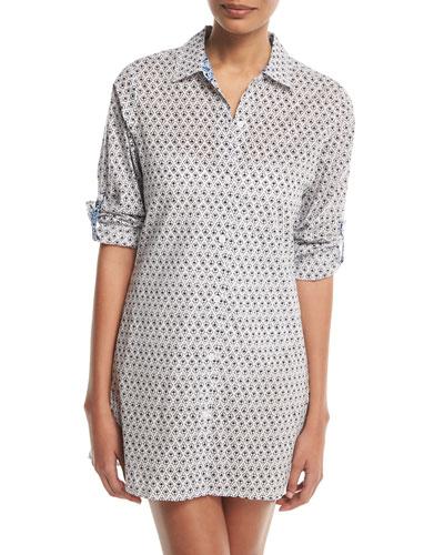 Tika Button-Front Boyfriend Shirt Coverup