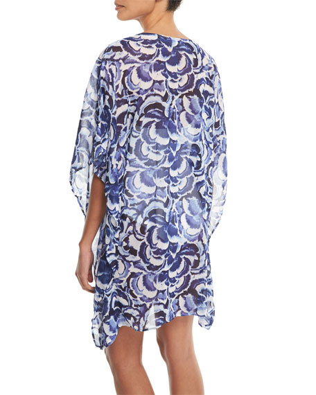 Pansy Petals Sheer Printed Lace-Up Tunic Coverup
