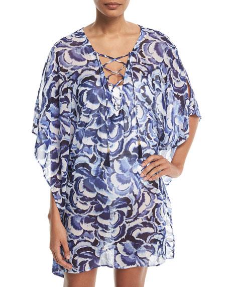 Tommy Bahama Pansy Petals Sheer Printed Lace-Up Tunic