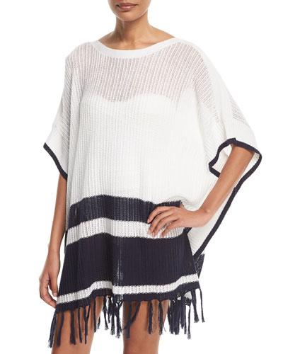 Linen-Cotton Striped Poncho Coverup