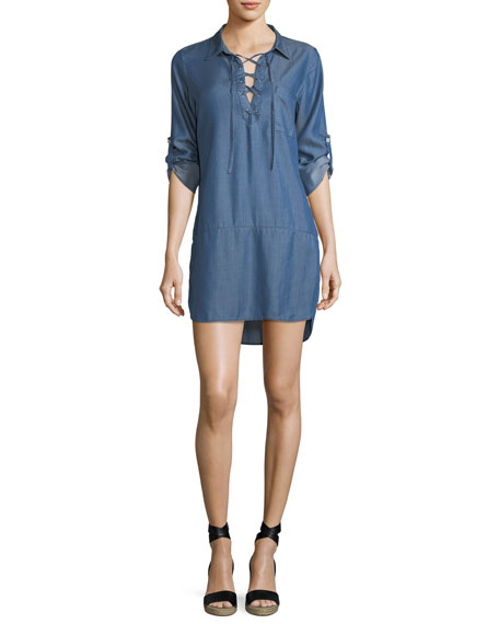 Chambray Lace-Up Boyfriend Shirt