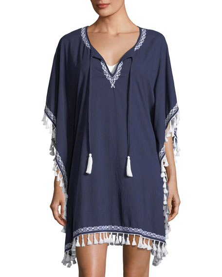 Split-Neck Cotton Tunic Coverup with Embroidery