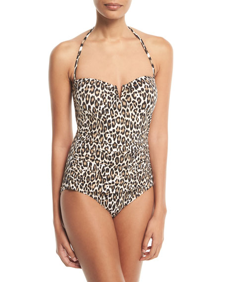 Cat Meow V-Wire Bandeau One-Piece Swimsuit