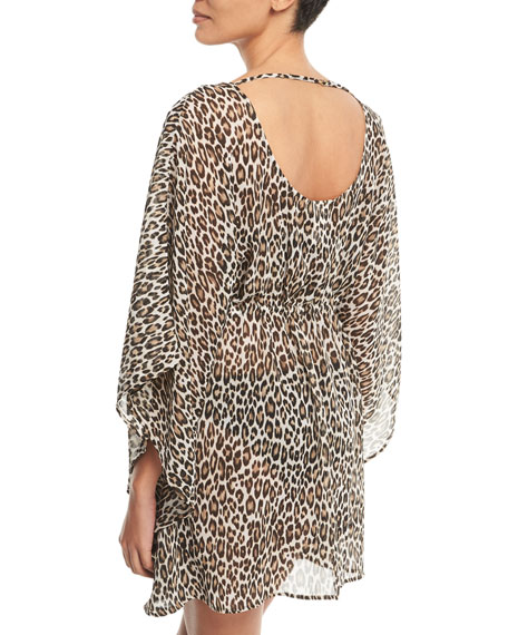 Cat Meow Lace-Front Open-Back Tunic Coverup
