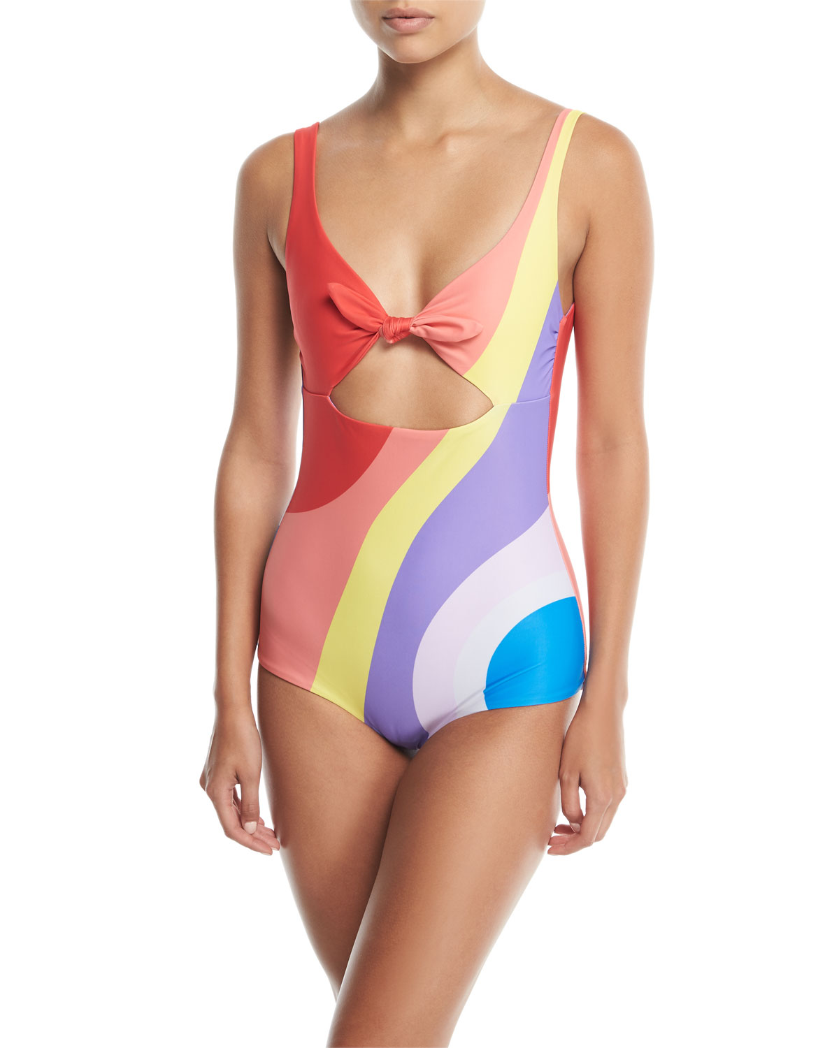 dc0e5df081 Mara Hoffman Adeline Tie-Front Low-Back Printed One-Piece Swimsuit ...
