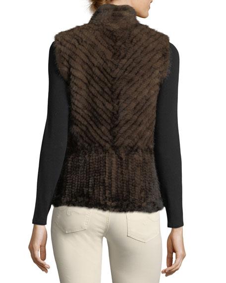 Chevron Fur Short Zip-Up Vest