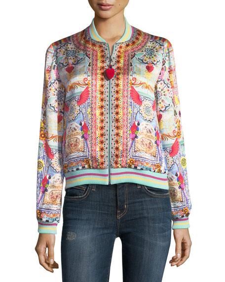 Printed Silk Bomber Jacket