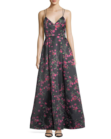Alice + Olivia Marilla V-Neck Sleeveless Strappy Floral-Print