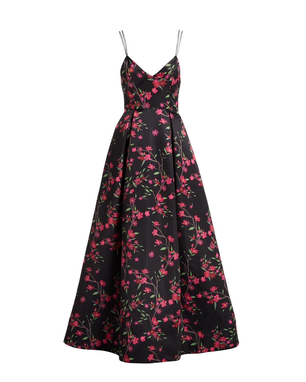 Alice + Olivia Marilla V-Neck Sleeveless Strappy Floral-Print Gown ...