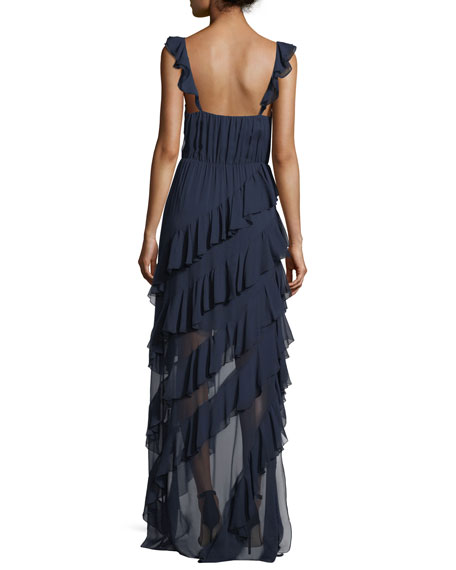 Lessie Surplice Sleeveless Ruffled Gown