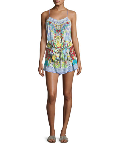 Shoestring Mixed-Print Silk Romper Coverup