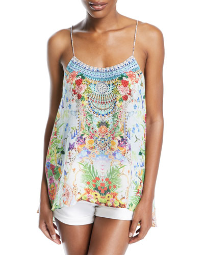 Low-Back Sleeveless Printed Silk Top