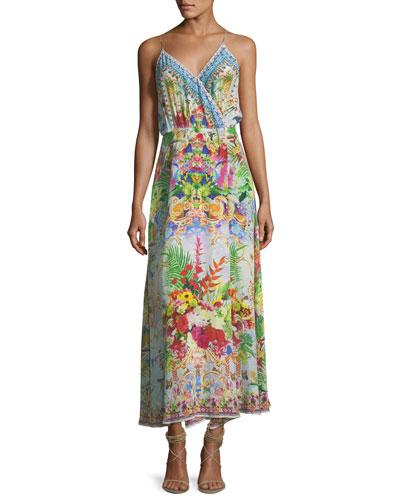 Strappy V-Neck Beaded Wrap Silk Dress