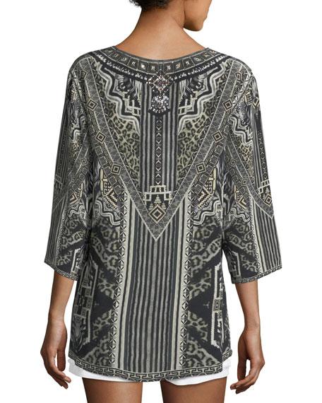 V-Neck Embellished Oversized Blouse