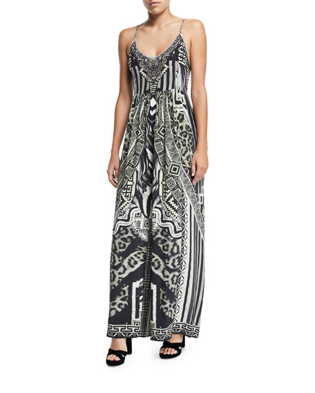 Gathered Wide-Leg Silk Jumpsuit Coverup