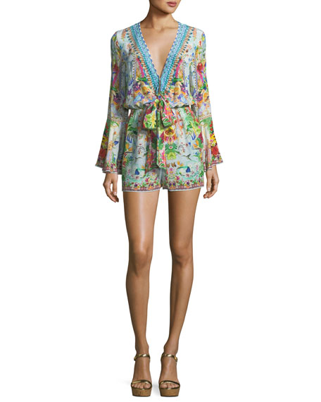Camilla Bell-Sleeve Beaded Plunging Printed Silk Playsuit
