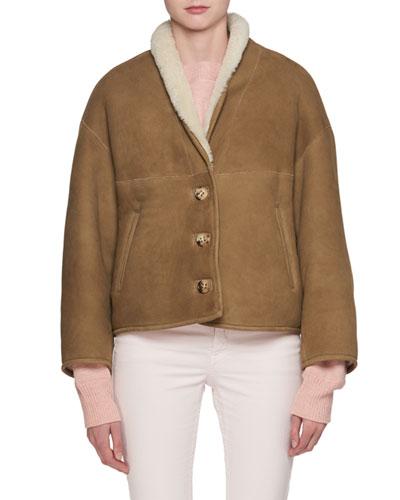 Alexandre Button-Front Short Shearling Jacket