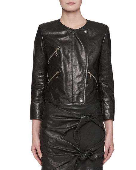 Etoile Isabel Marant Grinly Zip-Front Leather Moto Jacket