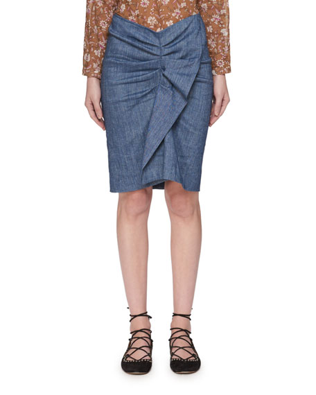 Etoile Isabel Marant Ornela Ruffle Chambray Skirt and