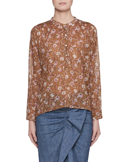 Maria Floral-Print Semisheer Cotton Blouse