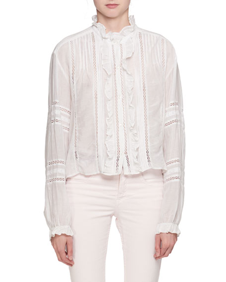 Etoile Isabel Marant Valda Long-Sleeve Lace Cotton Blouse