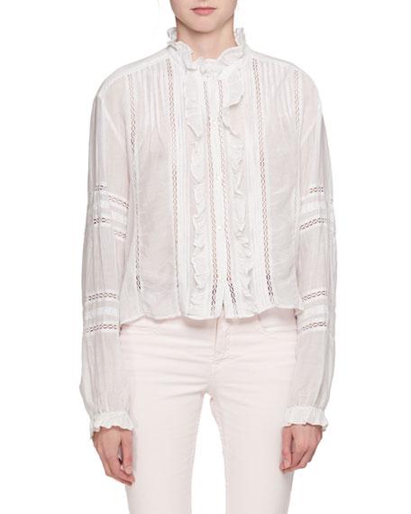 Etoile Isabel Marant Valda Long-Sleeve Lace Cotton Blouse