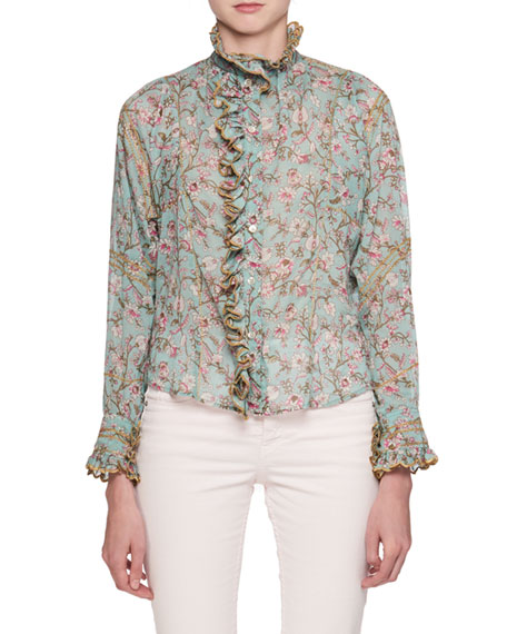 Mauryn Floral-Print Blouse with Embroidered Ruffled Trim