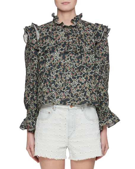Etoile Isabel Marant Ted Ochre Embroidered Long-Sleeve Linen