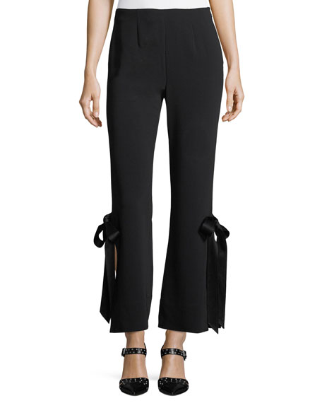 Cinq A Sept Side Ribbon Cropped Trousers - Black