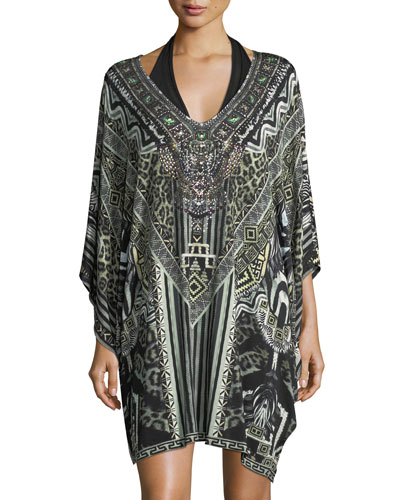 Bat-Sleeve Printed Caftan Coverup