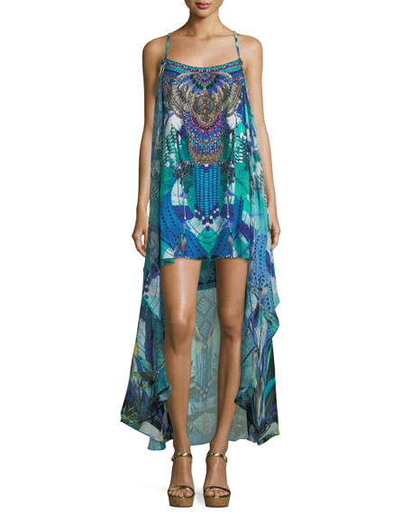 Camilla Embellished Printed Coverup Mini Dress with Overlay