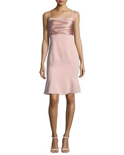 Paloma Sleeveless Crepe Dress w/ Ruched Satin Tie