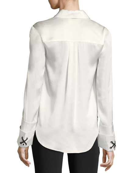 Anton Button-Front Satin Top w/ Lace-Up Sides