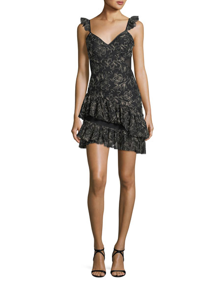 cinq a sept Enid V-Neck Sleeveless Embroidered Mini